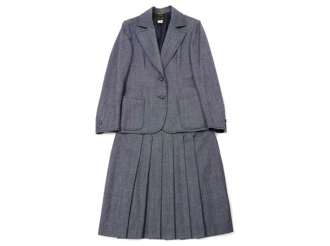 Céline NEO BOURGEOISE FR36/38 Skirt suit Wool Navy blue ref.155253
