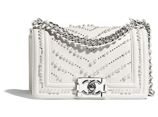 Chanel Small bag BOY CHANEL white prle Handbags Leather,Metal,Pearl White ref.155256