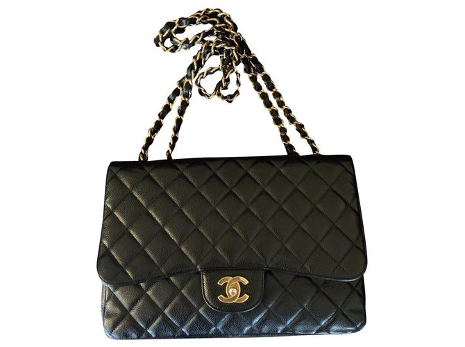 Chanel Chanel Jumbo Handbags Leather Black ref.155267