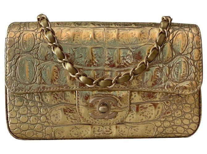 Chanel Chanel Gold Metallic Crocodile Embossed calf leather Mini Flap Handbags Leather Golden ref.155276