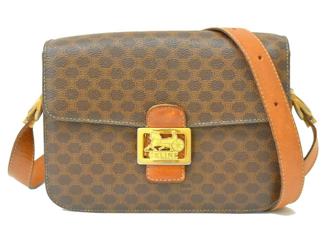 Céline Céline Macadam Shoulder Bag Handbags Leather Brown ref.155368