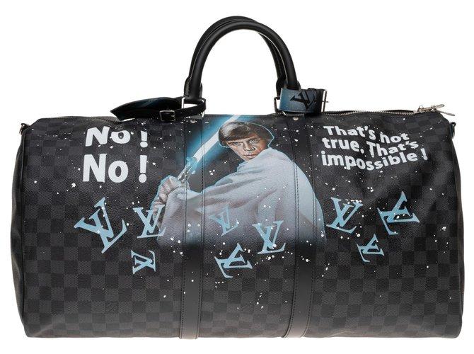 """Sacs de voyage Louis Vuitton Louis Vuitton Keepall 55 graphite bandoulière neuf  customisé """"STARBAG"""" par PatBo ! Cuir,Toile Noir,Bleu ref.155480"""