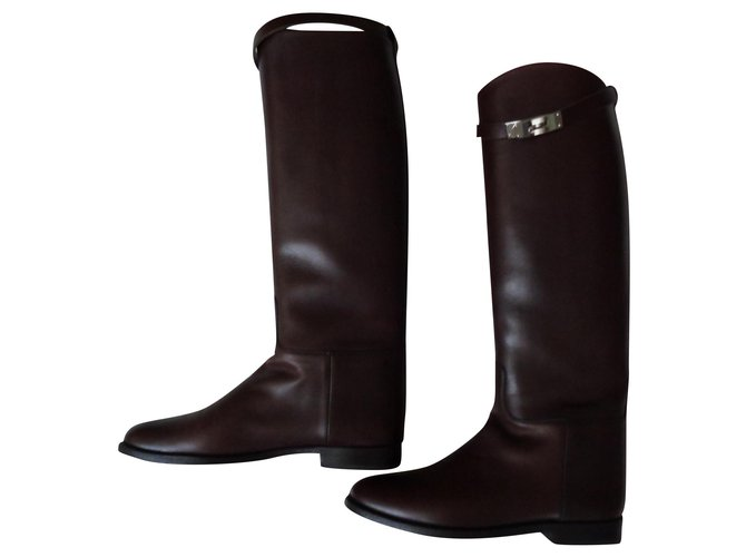 Hermès Boots Boots Leather Brown ref.155496