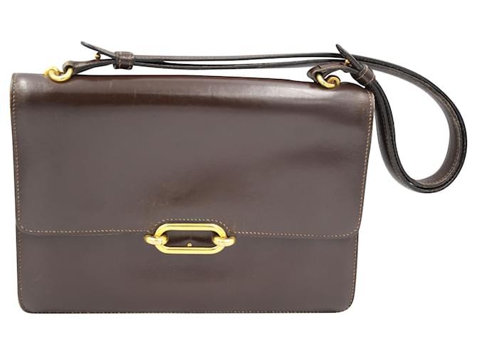 Hermès Fonsbelle Handbags Leather Dark brown ref.155542