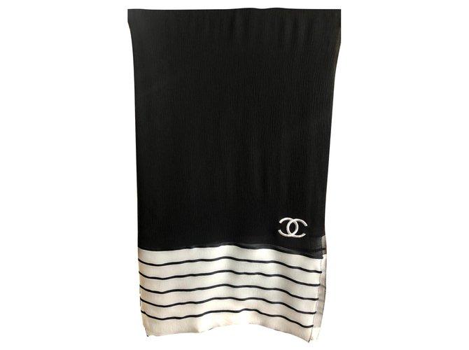 Chanel Scarves Scarves Silk Black ref.155632