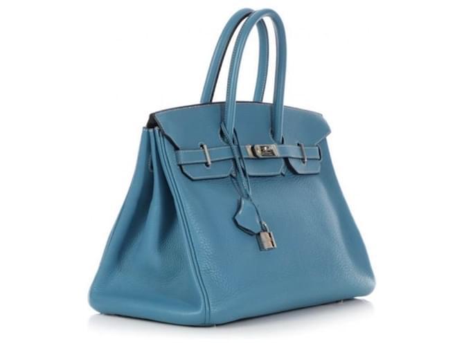 Hermès Birkin 35 blu jeans Handbags Leather Blue ref.155641