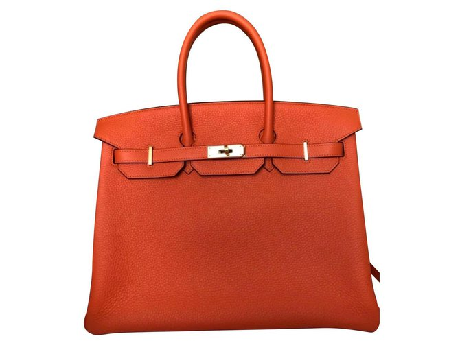 Hermès Birkin 35 orange feu Handbags Leather Orange ref.155642