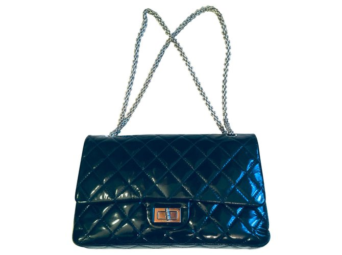 Chanel jumbo: 32x21x8cm Handbags Patent leather Navy blue ref.155651