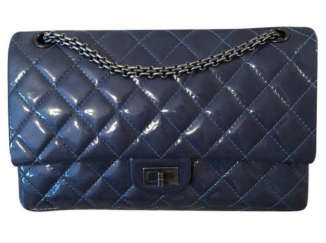 Chanel Chanel 2.55 Handbags Patent leather Blue ref.155664
