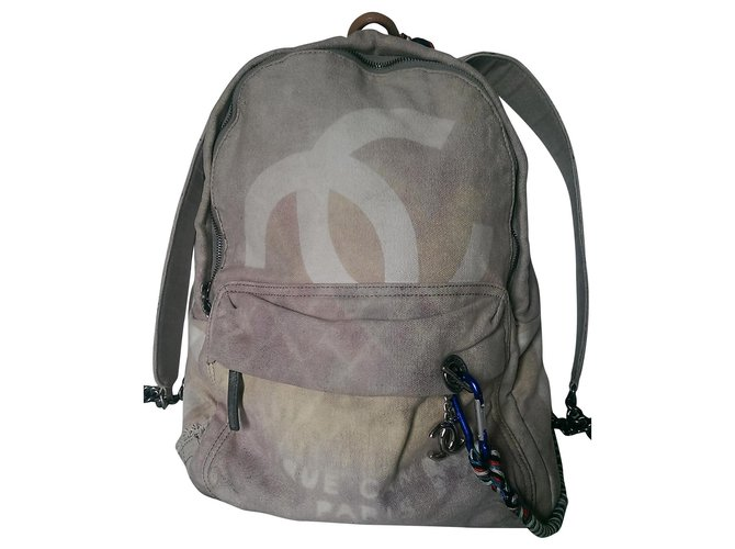 Chanel SS Graffiti 14 Backpacks Cloth Beige,Other ref.155689