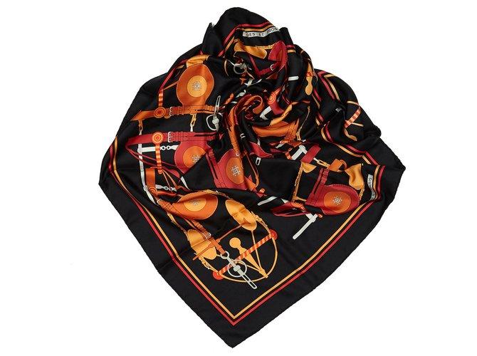 Hermès Hermes Black Brides et Frontaux Silk Scarf Silk scarves Silk,Cloth Black,Multiple colors ref.155885