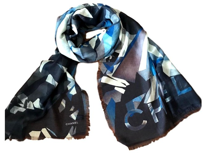 Chanel ETOE CHANEL Scarves Cashmere Navy blue ref.155910