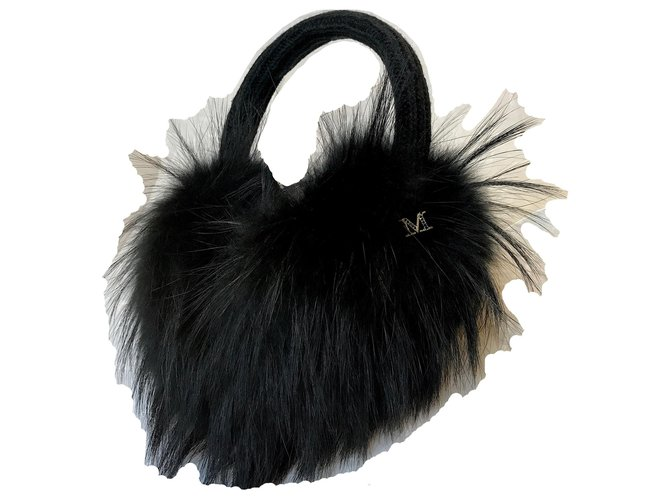 Maison Michel Fox Fur Victoria Maxi earmuffs Hats Fur,Fox Black ref.155971