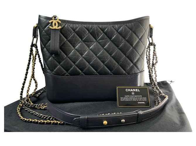Chanel CHANEL Large CHANEL GABRIELLE hobo bag BLACK LEATHER Handbags Leather Black ref.156015