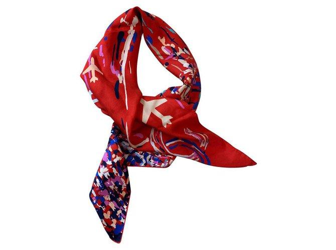 Chanel Chanel Silk scarves Silk Red ref.156054