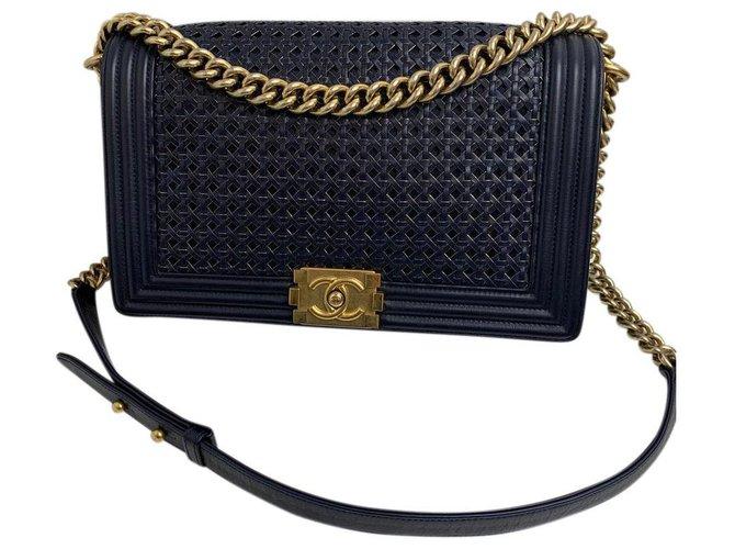 Chanel chanel boy Handbags Leather Dark blue ref.156061