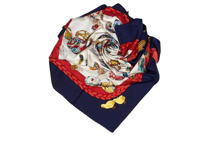 Hermès Hermes White Couvee dHermes Silk Scarf Silk scarves Silk,Cloth White,Multiple colors ref.156087
