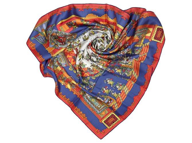 Hermès Hermes Blue Astres et Soleils Silk Scarf Silk scarves Silk,Cloth Blue,Multiple colors,Navy blue ref.156131