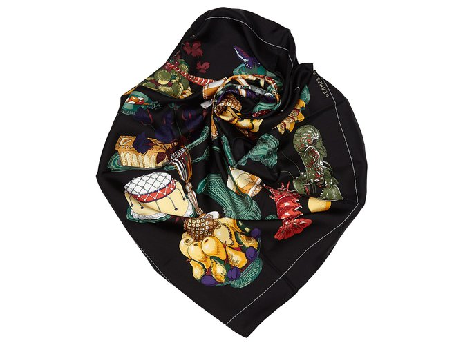 Hermès Hermes Black Gastronomie Silk Scarf Silk scarves Silk,Cloth Black,Multiple colors ref.156149