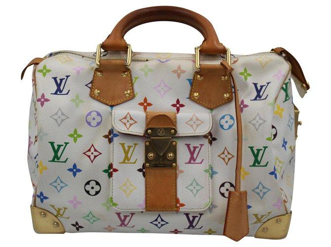 Louis Vuitton Speedy 30 Handbags Cloth White ref.156316