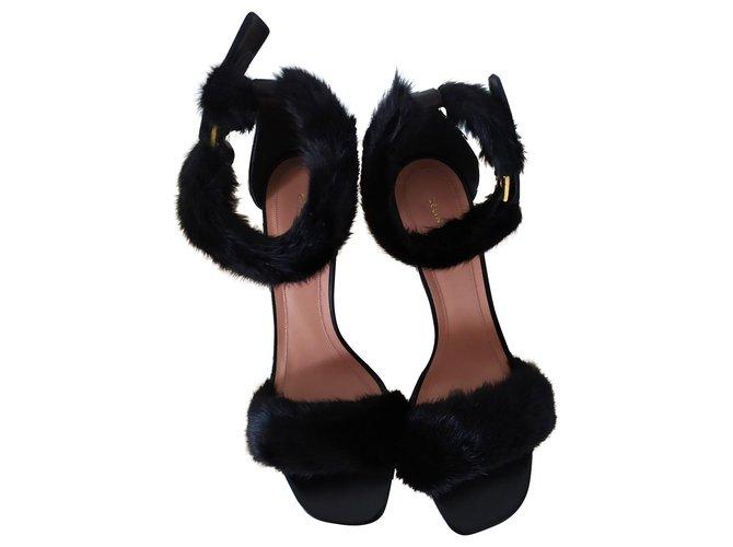 Céline Celine fur sandals Sandals Fur Black ref.156322