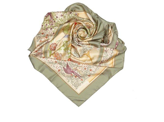 Hermès Hermes Green www.Hermes.com Silk Scarf Silk scarves Silk,Cloth Multiple colors,Green ref.156343