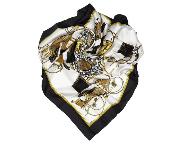 Hermès Hermes White Les Voitures a Transformation Silk Scarf Silk scarves Silk,Cloth White,Multiple colors ref.156369
