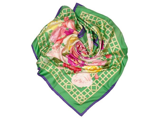 Hermès Hermes Green Roseraie Silk Scarf Silk scarves Silk,Cloth Multiple colors,Green ref.156376