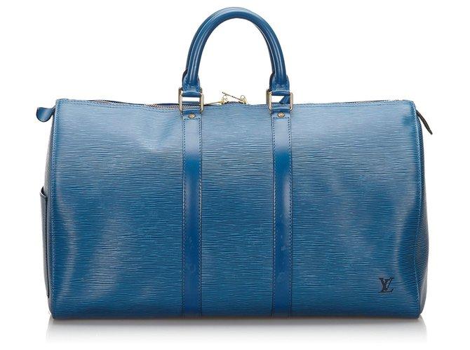 Sacs de voyage Louis Vuitton Louis Vuitton Blue Epi Keepall 50 Cuir Bleu ref.156377