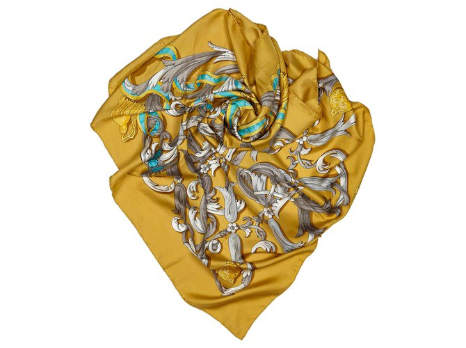 Hermès Hermes Brown Mors a la Conetable Silk Scarf Silk scarves Silk,Cloth Brown,Multiple colors,Light brown ref.156382