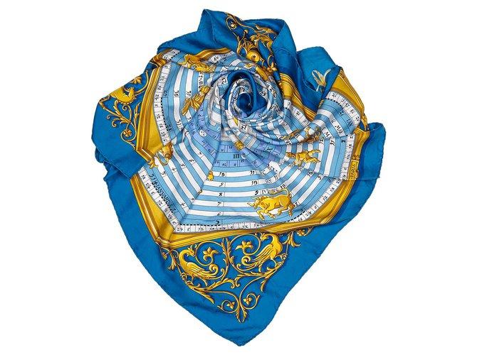 Hermès Hermes Blue Dies et Hore Silk Scarf Silk scarves Silk,Cloth Blue,Multiple colors ref.156387
