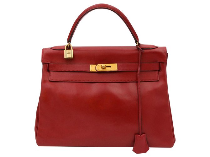 Hermès Hermes vintage bag, kelly model 32, 1989 Handbags Leather Red ref.156590