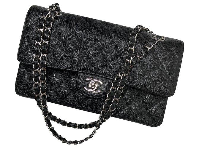 Chanel w/ full set Medium lined Flap Caviar Handbag Handbags Leather Black ref.156747