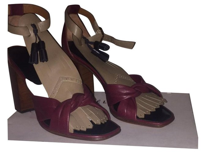 Céline Sandals Sandals Leather Dark red ref.156793