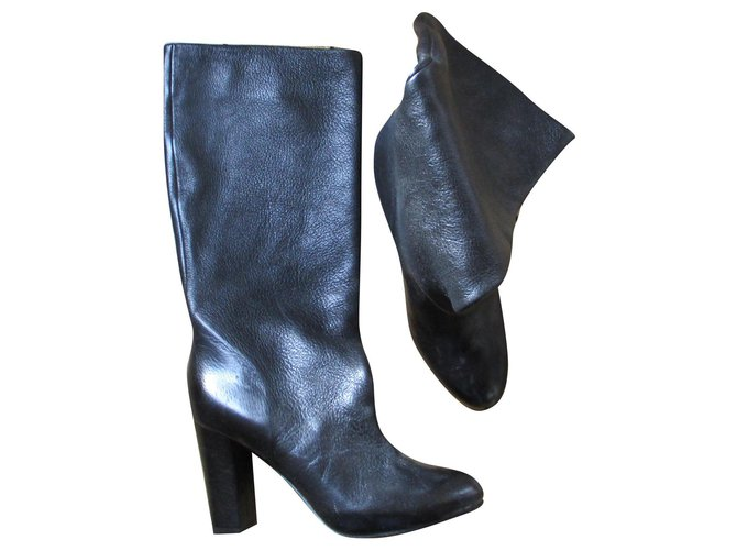 Chloé Black calf leather boots, 36,5. Boots Leather Black ref.157007