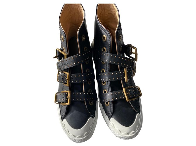 Chloé Suzanna Sneakers Leather,Rubber Black,White,Golden ref.157009