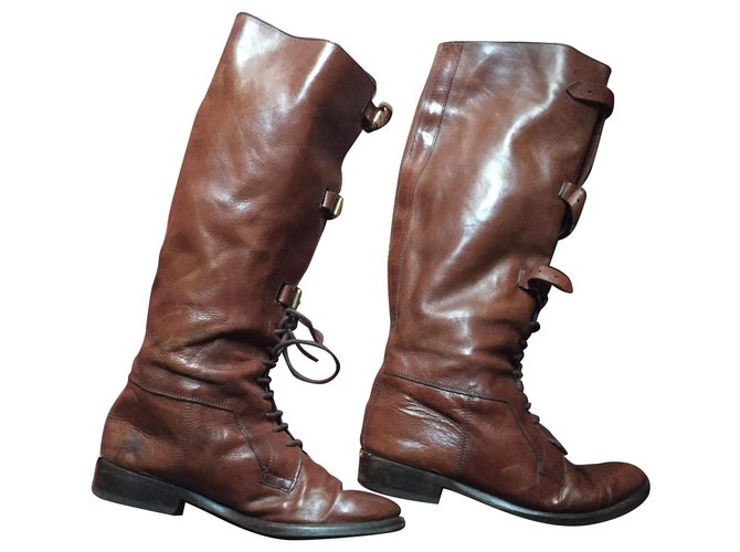 Burberry Burberry boots Boots Leather Brown ref.157034