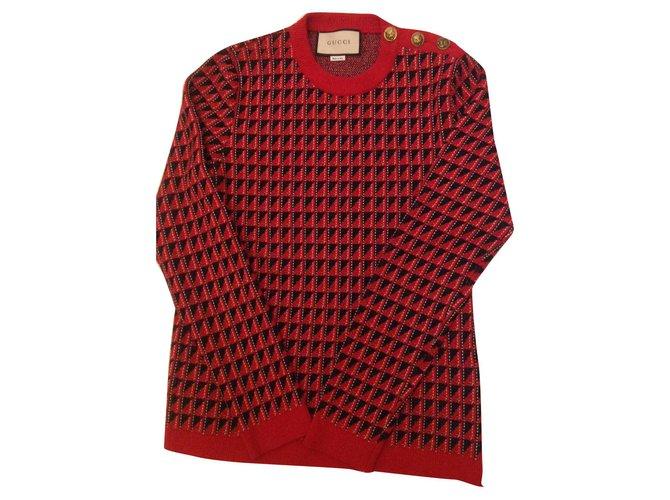 Pulls, Gilets Gucci Pull jacquard neuf avec facture Laine Noir,Blanc,Rouge ref.157052