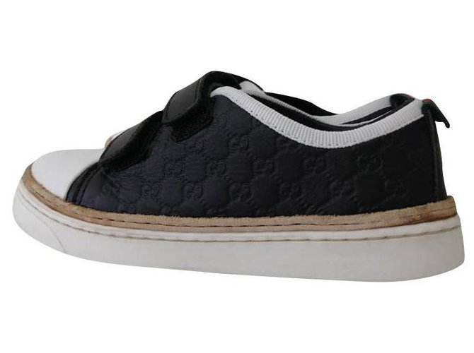 Baskets enfant Gucci sneakers Cuir Noir ref.157107
