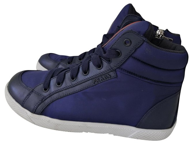Baskets enfant Prada sneakers Cuir Bleu ref.157148