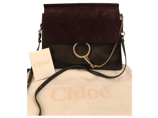 Chloé Faye great model Handbags Leather Prune ref.157183