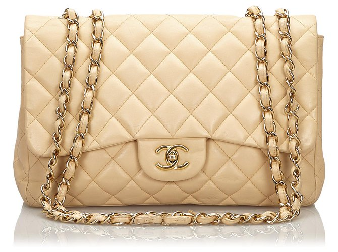 Chanel Chanel Brown Jumbo Classic Single Flap Bag Handbags Leather Brown,Beige ref.157327