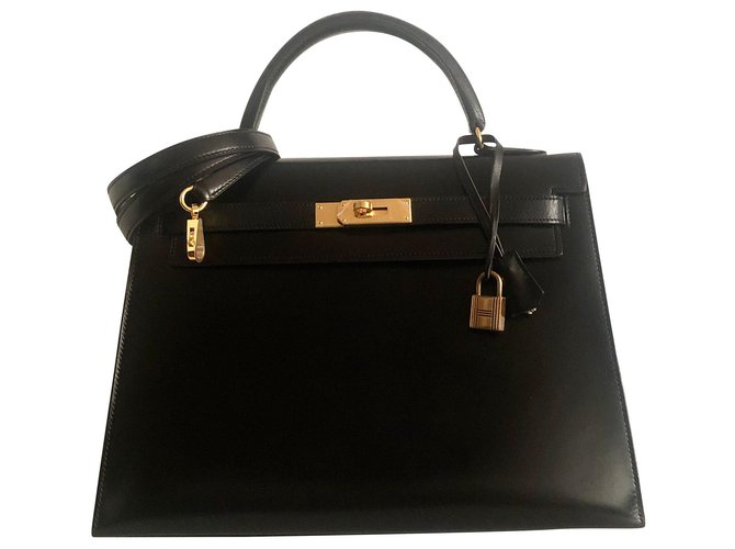 Hermès hermes kelly 32 black box leather Handbags Leather Black ref.157536