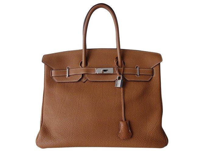 Hermès HERMES BIRKIN BAG 35 gold Handbags Leather Beige ref.157547