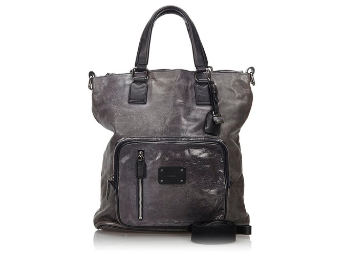 Chloé Chloe Gray Leather Satchel Handbags Leather,Other Black,Other,Grey ref.157602