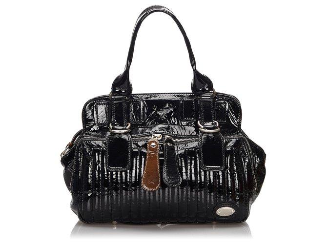 Chloé Chloe Black Patent Leather Bay Handbag Handbags Other Black ref.157618