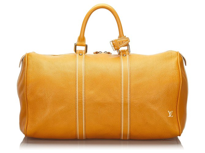 Sacs de voyage Louis Vuitton Louis Vuitton Orange Tobago Keepall 50 d'orange Cuir,Autre Orange ref.157666