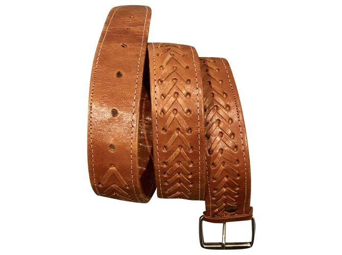 Autre Marque handmade soft leather belt T. 90-95 Unisex Belts Leather Cognac ref.157719