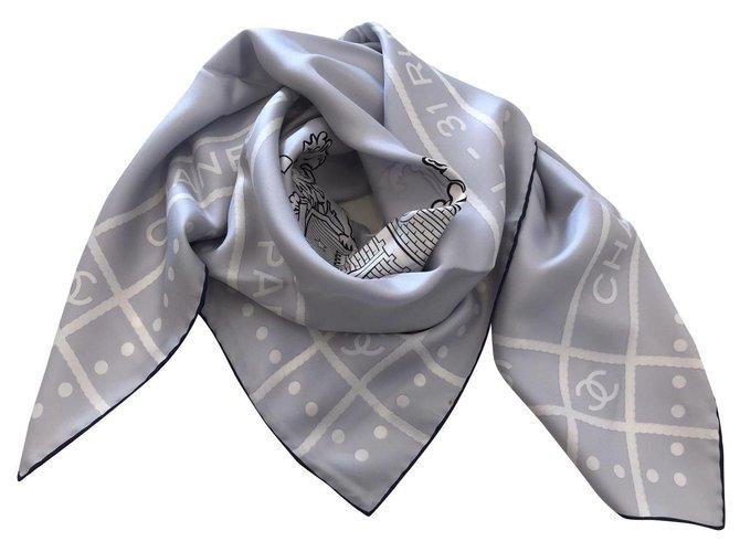 Chanel Chanel scarf Scarves Silk Grey ref.157740