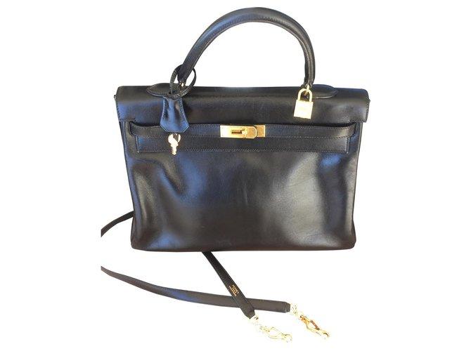 Hermès Kelly in box. black Handbags Leather Black ref.157759
